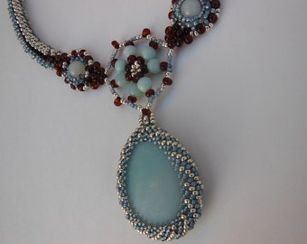 Exquisite Night Time Ocean Calm, Elegant and Handcrafted Beadwoven Necklace