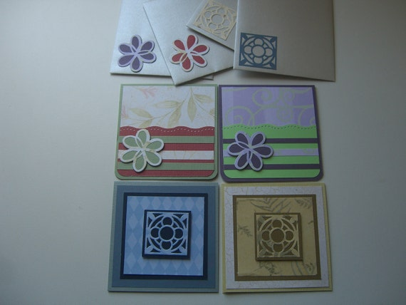 "Elegant Blank Stampin Up, All Occasion Note Cards/Gift/Mini Cards Tags: Set of 4 (3.5""by3.5"")"