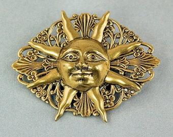 Sun Pin - Sunburst Brooch Pin -- Antiqued Brass Stamping - Sunshine - Sun