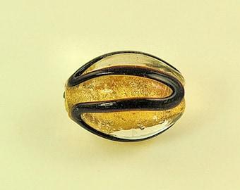 Venetian Glass Focal Bead with 24kt Gold Foil - 20mm