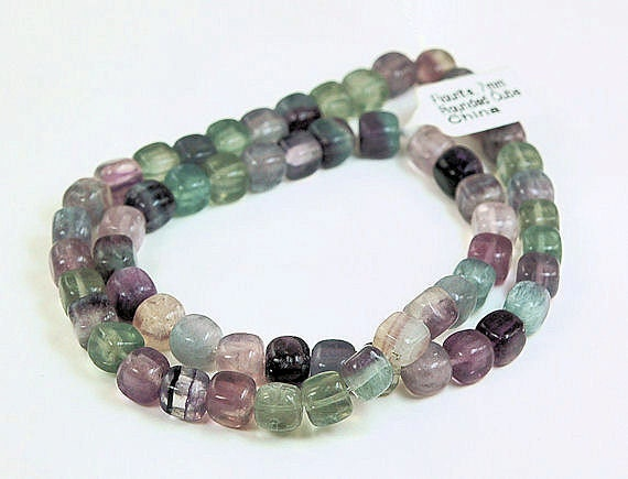 16 inch Strand of Rounded Cube Fluorite - 7mm