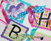 Happy Birthday Pony Banner Party Decoration Little Girl