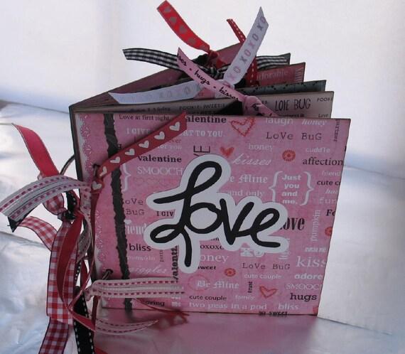 Valentine Scrapbook Photo Album Chipboard Premade Memory Book LOVE 6x6 Ready to Ship