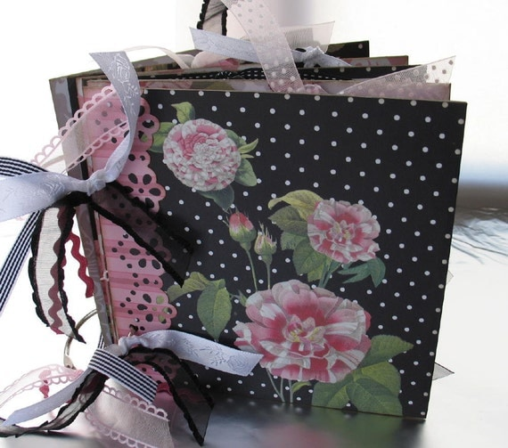 Butterflies & Flowers Scrapbook Album Photo Memory Book Chipboard Pink Black 6x6 Mother Grandma READY to SHIP