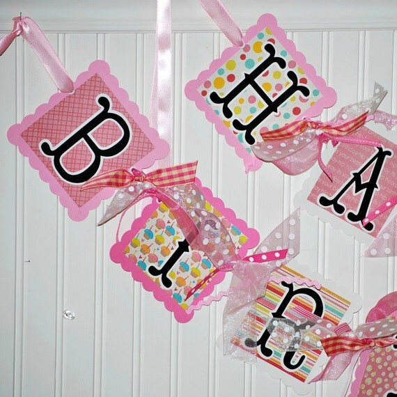 HAPPY BIRTHDAY Banner CUPCAKE Theme Party Decorations Pinks and White