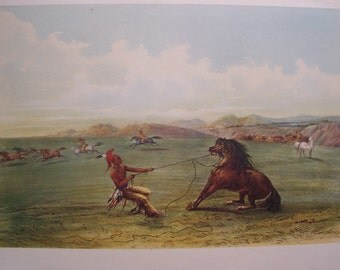 Cowboy Western Native American Print Picture Catching The Wild Horse by George Catlin