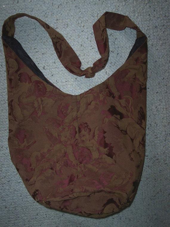 vintage boho bag cherubs putti angels Shabby brocade shoulder bag tote With Purse FREE SHIP