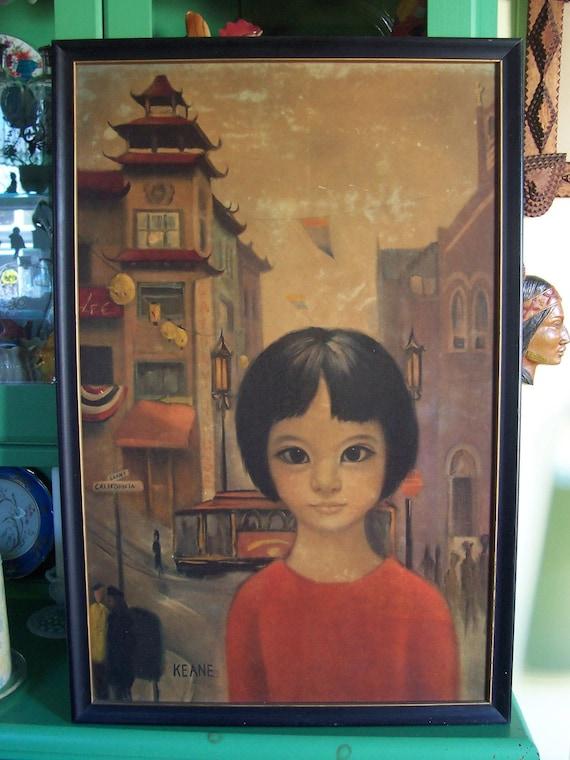 Early 1960's Keane Big Eyes Asian Girl print in frame San Francisco Chinatown