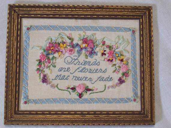 Ribbon embroidery flowers in vintage frame friends are