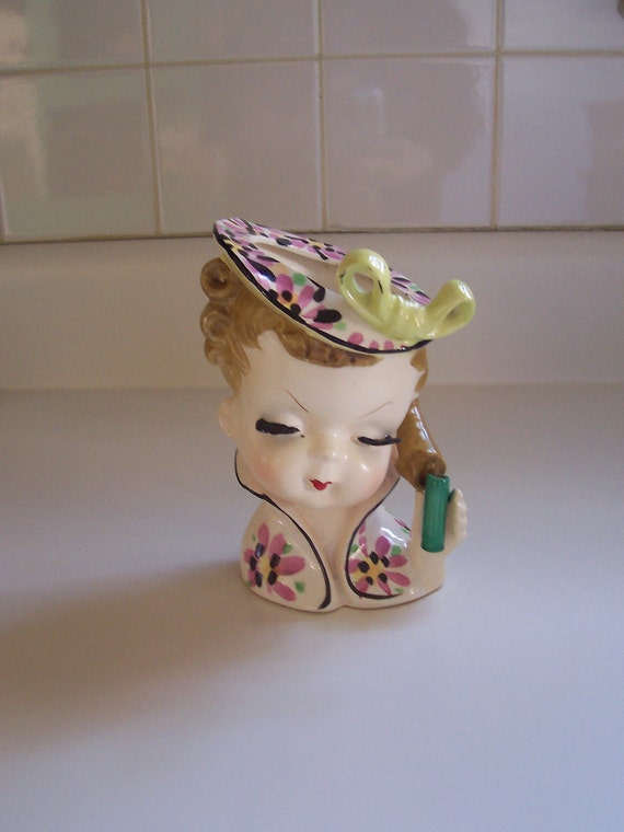 Lady head vase Sweet Little Girl vase with a tiny bud vase