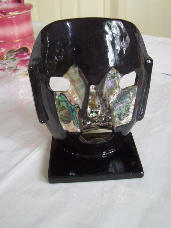 Abalone shell Statue face mask Handmade clay and abalone Oddity death mask