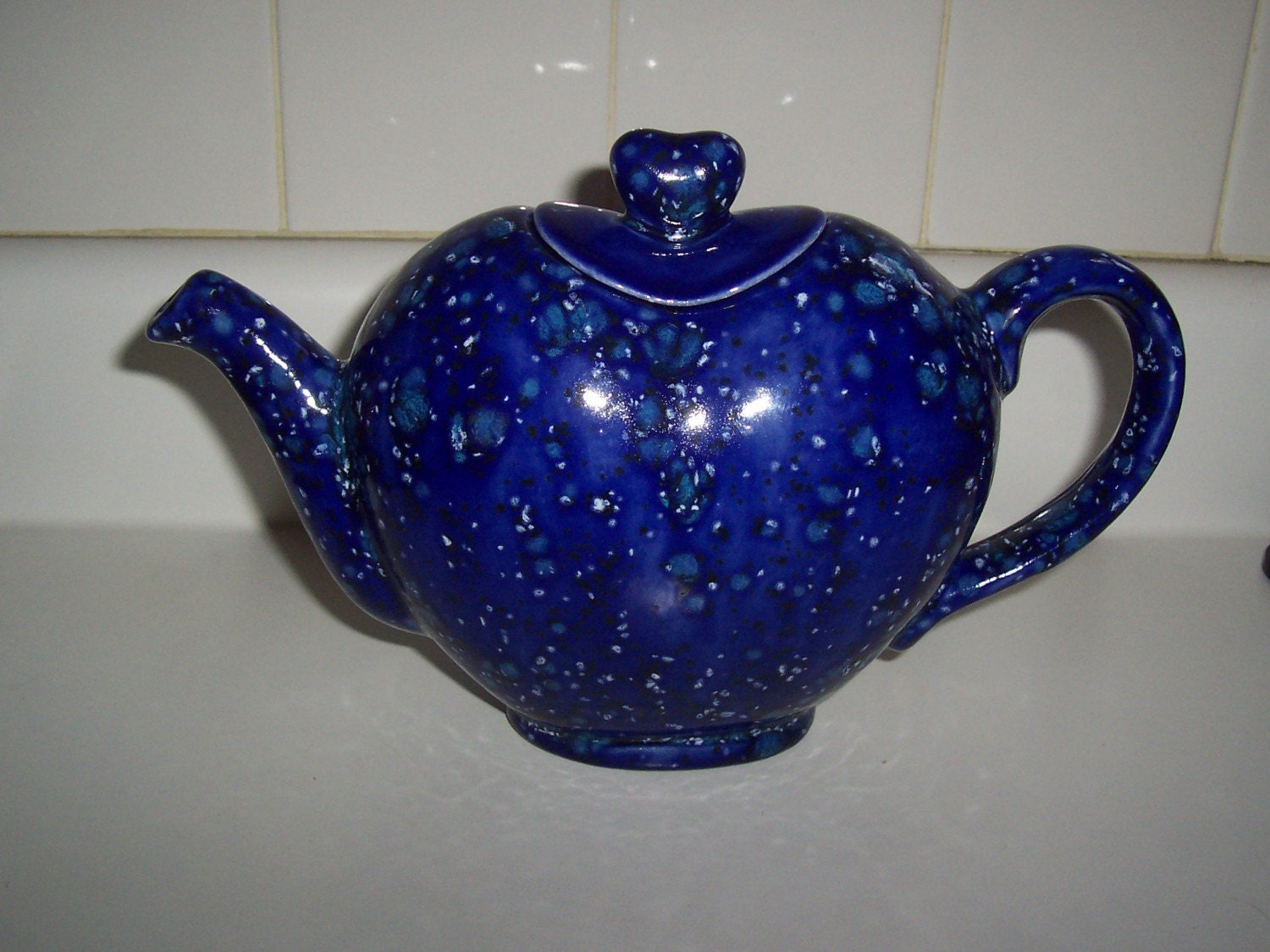 Handmade Ceramic Heart Shaped Teapot Splattered Cobalt By
