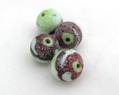 Crusty Rustic Lime Green & Brick Red Bi-color with Pale Blue Swirls Round Matte Finish Lampwork Beads  -set of four