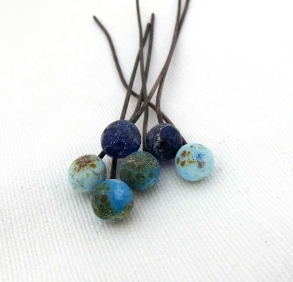 Sky- Crusty Rustic Lampwork Copper Wire Orb Headpins Sky Blue, Turquoise and cobalt Blue with Speckles Assortment of 6