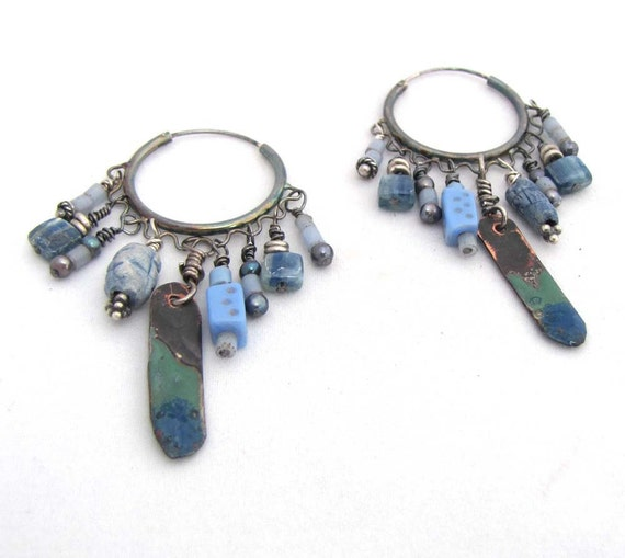 Abundant Blue -  Boho Tribal Oxidized Silver Hoop Dangles with Kyanite, Vintage Beads and Torch Enamel Dangles