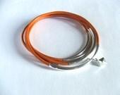 5 SILVER Tube Burnt Orange  Leather Bangle Bracelet Set  w/ Charm