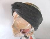 Turban Headband- Twist Knot - Charcoal Grey