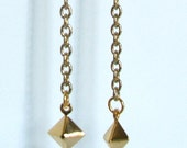 DIAMOND Gold Chain Drop Charm Earrings