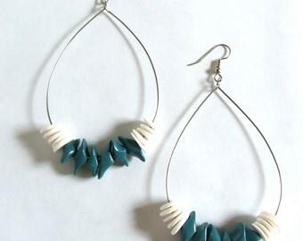 Beaded Teardrop Dangle HOOP Earrings - Teal / White