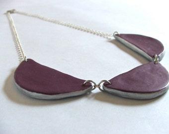 Purple Semi Circle Bib Necklace - reversible