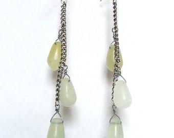 Jade Stone Teardrop Shoulder Duster Earrings - light green