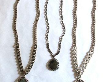"Small Labradorite Teardrop Pendant - 18"" Multi Chain Necklace"