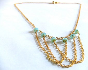 Draped Gold Chain Necklace - Quarry