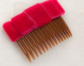 Dark Pink Velvet Bow Hair Slide