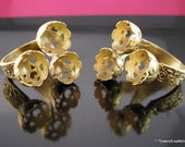 4 PCS Gold Plated Brass Adjustable Ring Base Blank with 3 pcs 9 mm tag for cabochon-GP-101