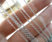 20 Meters - 66 Feet (1x2 mm) Silver Tone Solid Brass Soldered Link Chain-AP-3751SB