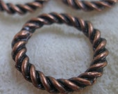 10 PCS (19 mm.) Copper Tone Metal Ring Rope Charms,Connector,Findings-D-74B