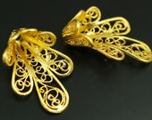 4 PCS Gold Plated Brass (27x18 mm ) Filigree Bead Caps, Charms,Pendant,Connector,Findings-GP-05D