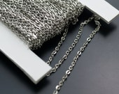 10 Meters - 33 Feet (2x3 mm) Silver Tone Metal Flat Cable Chain ZN-17
