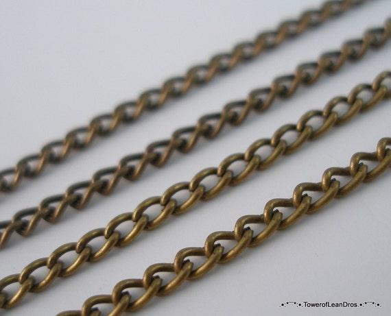 5 Meters-16.5 Feet  (2x4 mm.) Antique Bronze Tone Metal Chain Z-5AB