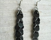Long Black Confetti Chainmail Earrings