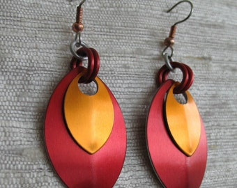 Red and Orange Stacked Leaf Chainmaille Earrings