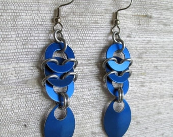 Stacked Coin and Leaf Chainmaille earrings in blue.