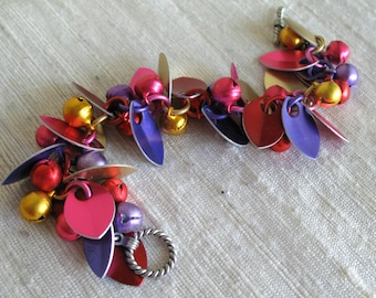 Chainmaill Scales and Bells Bracelet in Pink Purple Red and Gold