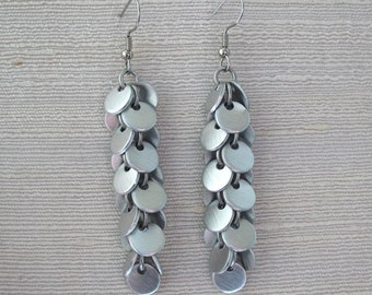 Long Confetti Brushed Aluminum Silver Chainmail Earrings