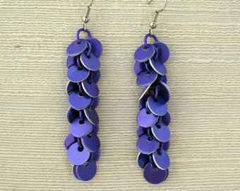 Long Confetti Purple Chainmail Earrings