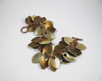 Bronze and Gold Aluminum Dancing Leaves Chainmaille Bracelet