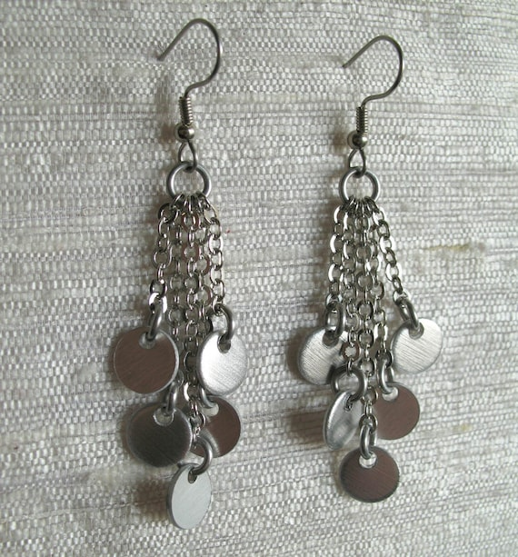 Cascade Confetti Chainmail Earrings Silver Color