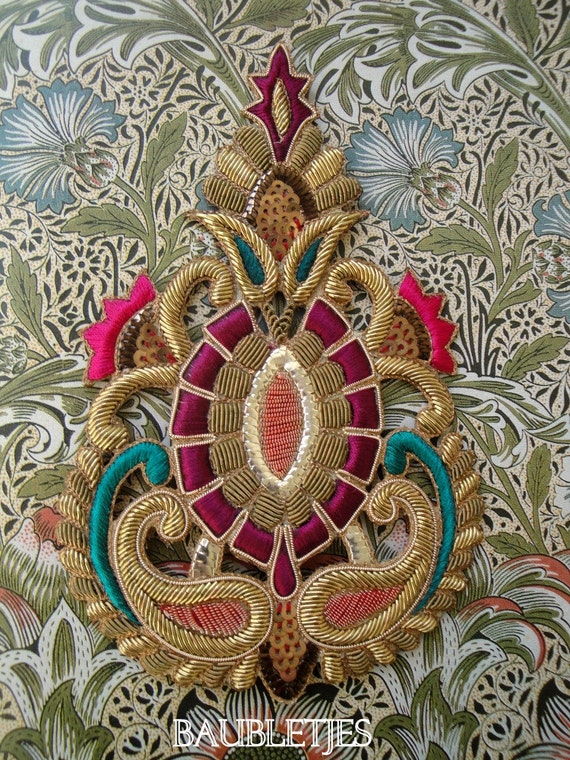 Jewel tones embellishment- Baroque motif all hand embroidered in French Purl