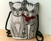 Pretty Kitties Vintage Retro 1980s Beaded Cat Purse