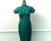 Vintage 1960s  Teal Floral Cheongsam Dress