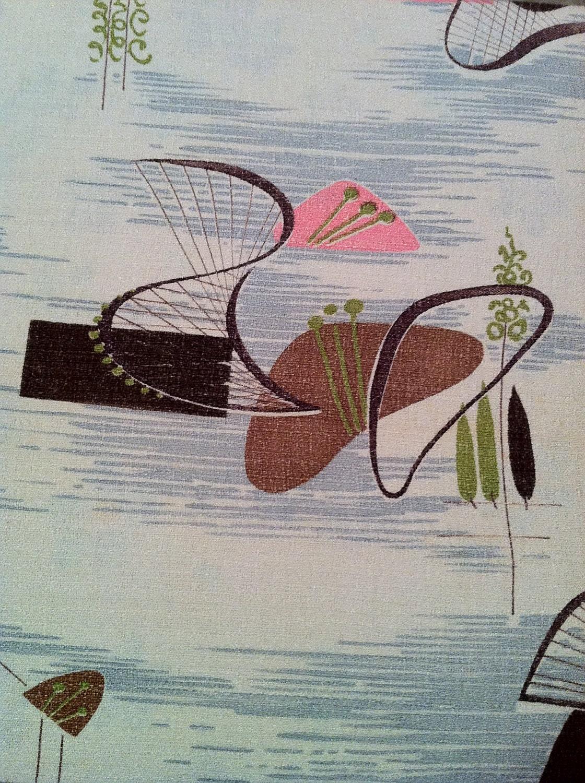1950s Atomic Curtains Vintage Barkcloth Drapes