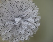 Small Dots (Black and White) - 1 Large Tissue Paper Pom Pom Flower - Dessert Table Decoration Newborn Photography Background Prop