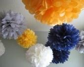 10 Tissue Paper Pom Poms - Decoration Holiday Party DIY Kit - RECEPTION Dancefloor chandelier