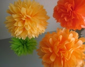Custom 10 Tissue Paper Pom Poms - Decoration Holiday Party - DIY - Fiesta Bold Colors - Cinco de Mayo - Goldenrod, Lime, Orange