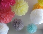 Custom - 6 Large Tissue Paper Pom Poms Decoration DIY Kit - Deluxe Wedding Decoration